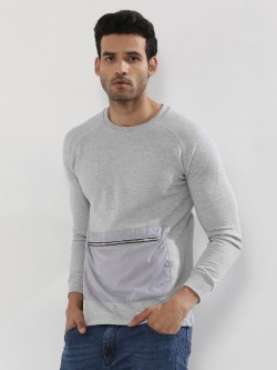 KOOVS Raglan Sweatshirt With Zip Pocket