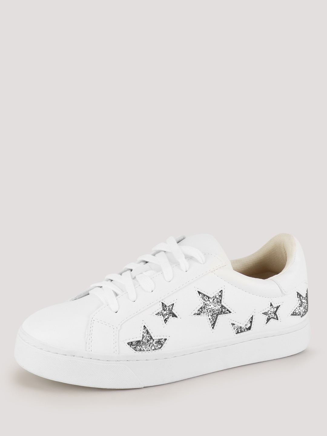 Buy Star Lace Up Glitter Shoes For Women - Womens White Trainers -2034
