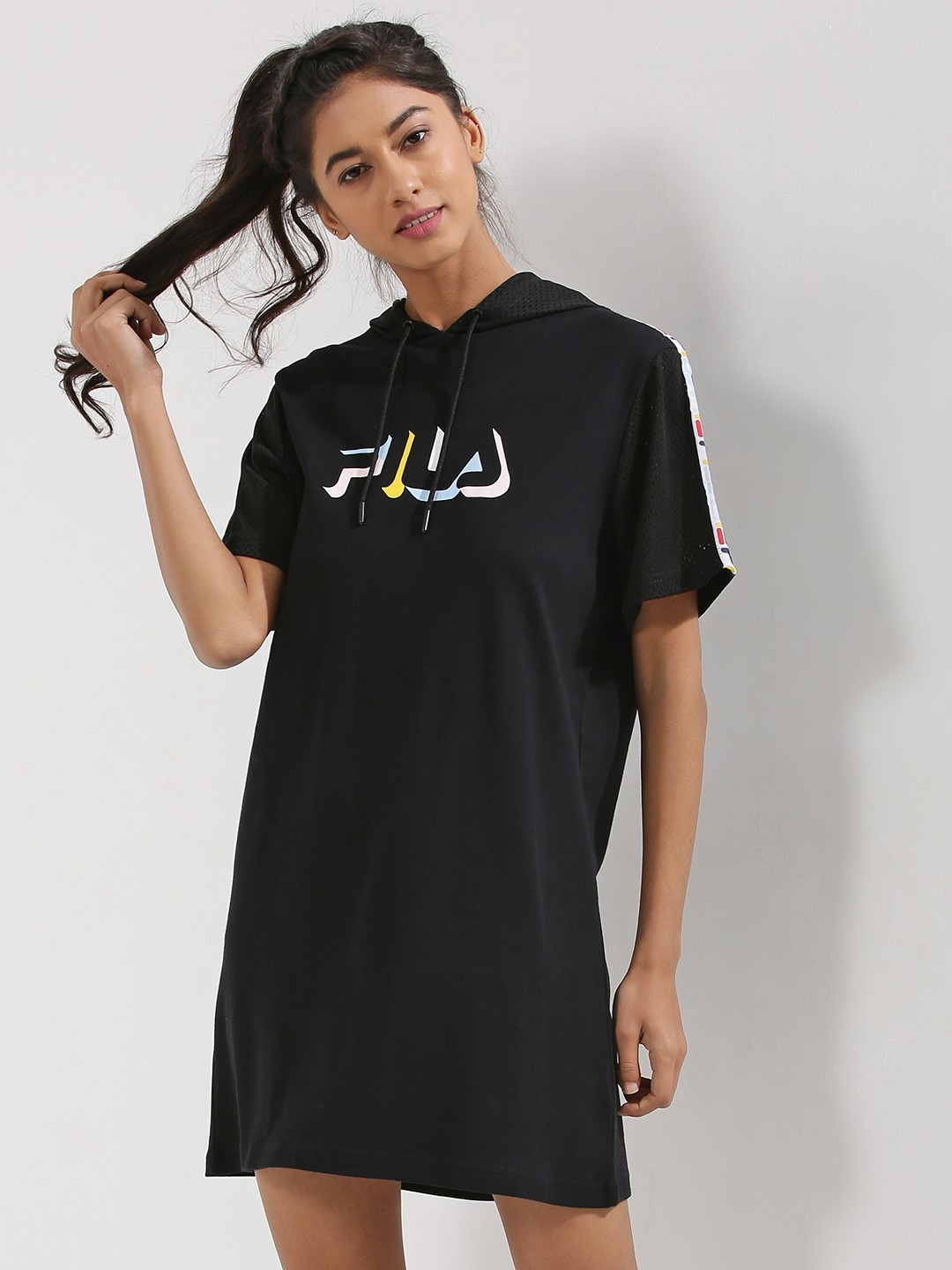united states new lower prices save up to 60% Buy Fila Black Black Mesh Sleeve Hooded T-Shirt Dress for ...