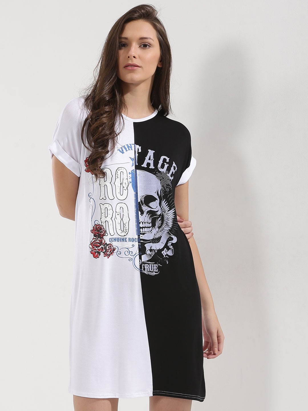 Buy Parisian WHITE/BLACK Contrast Print Turn Up Sleeve T ...