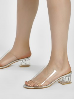 Truffle Collection Perspex Block Heel Sandals