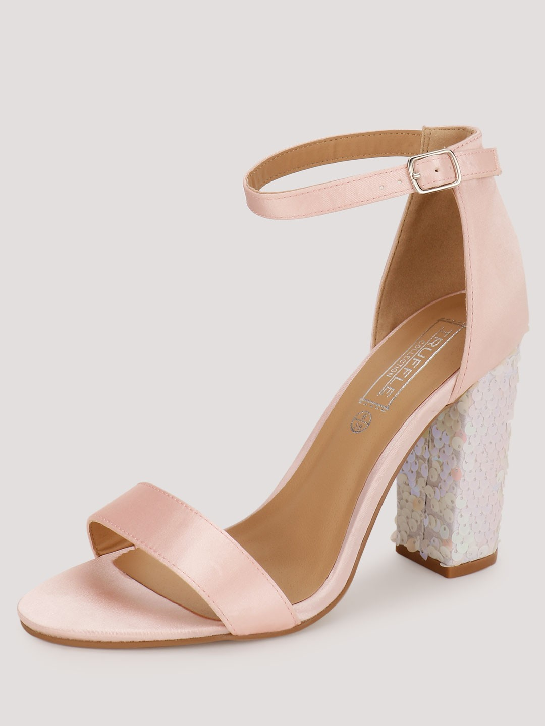 Truffle Collection Pink Sandals With Sequinned Heels 1