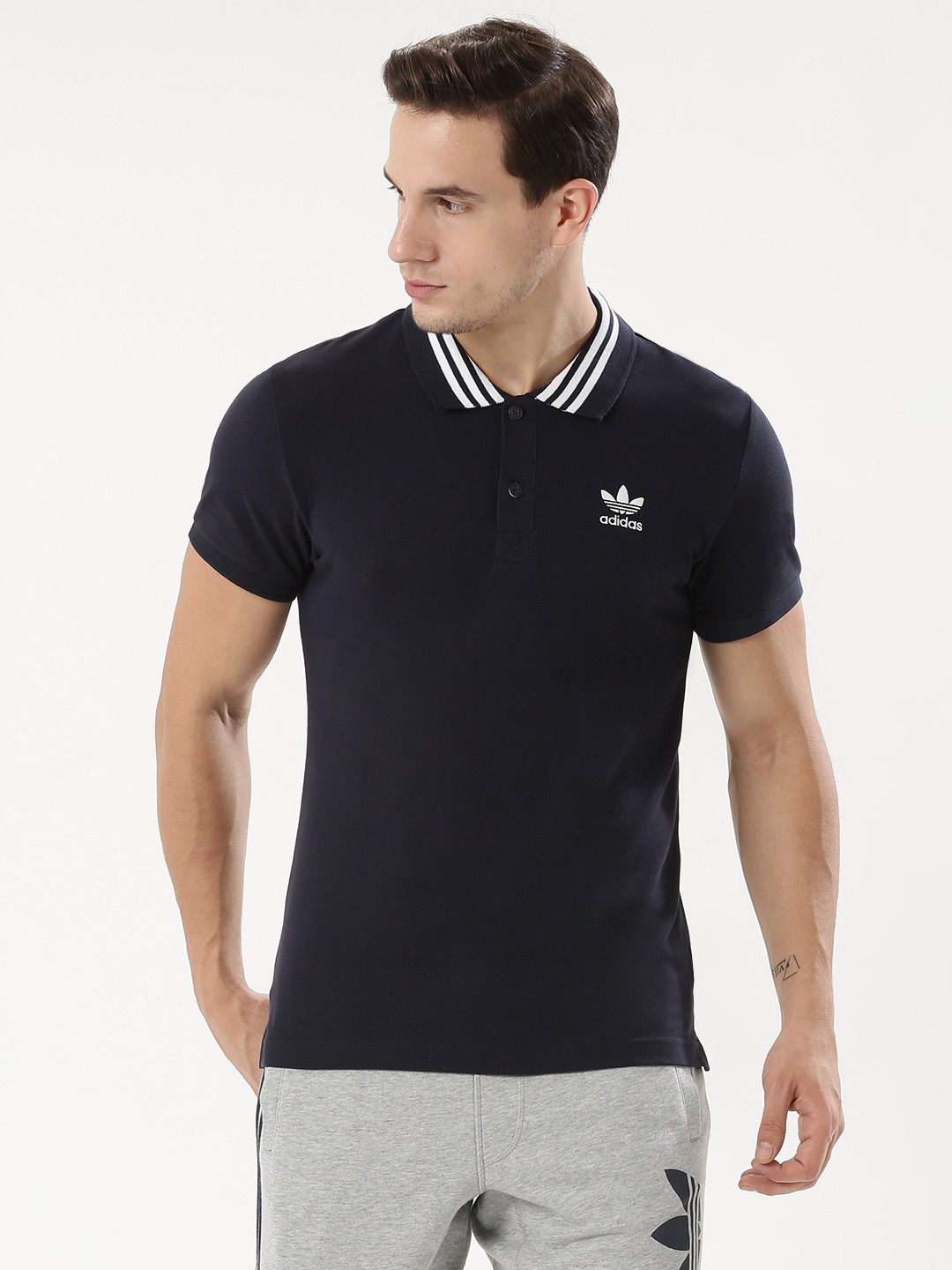 Adidas Originals Tipped Polo Shirt Navy