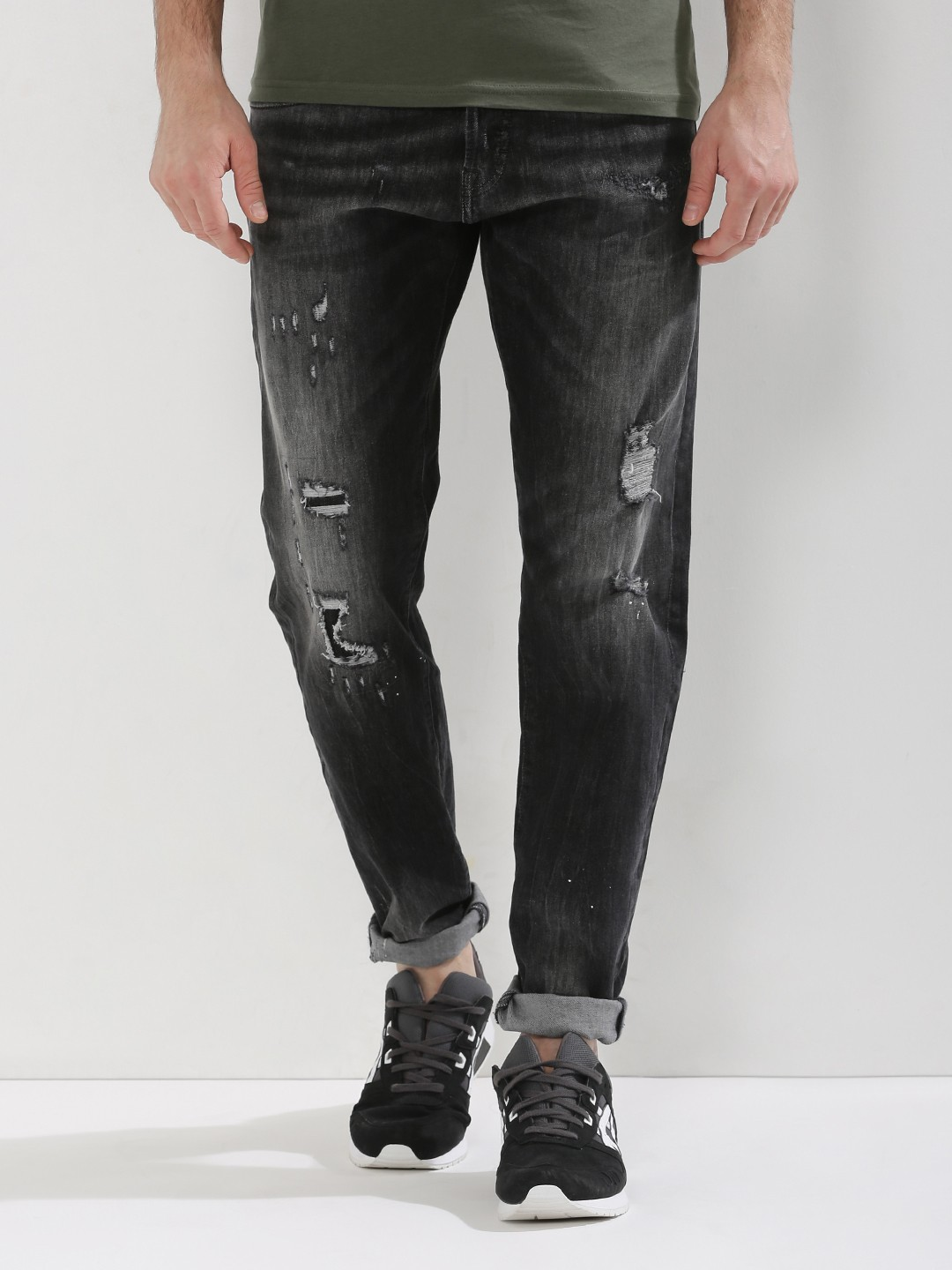 wholesale price genuine shoes running shoes Buy Jack & Jones Black Erik Anti Fit Jeans With Rips for Men ...