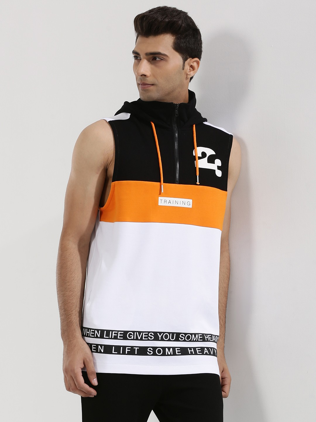 Adamo London Multi Cut & Sew Panel Sleeveless Hoodie 1