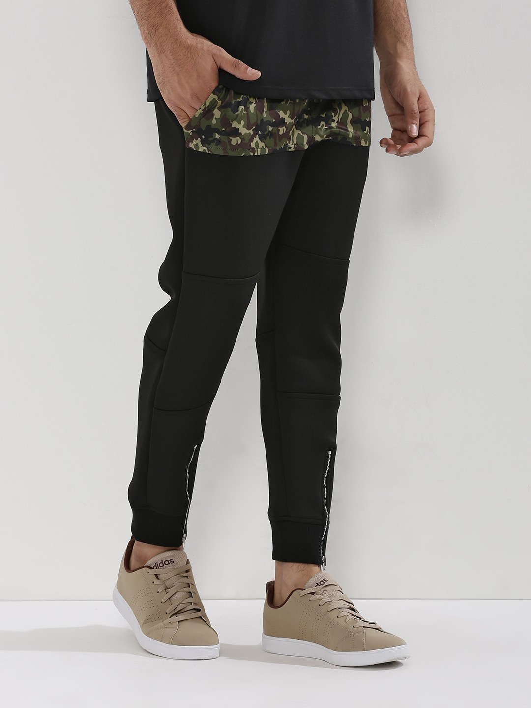 Adamo London Black Camo Camo Panel Zippered Hem Joggers 1