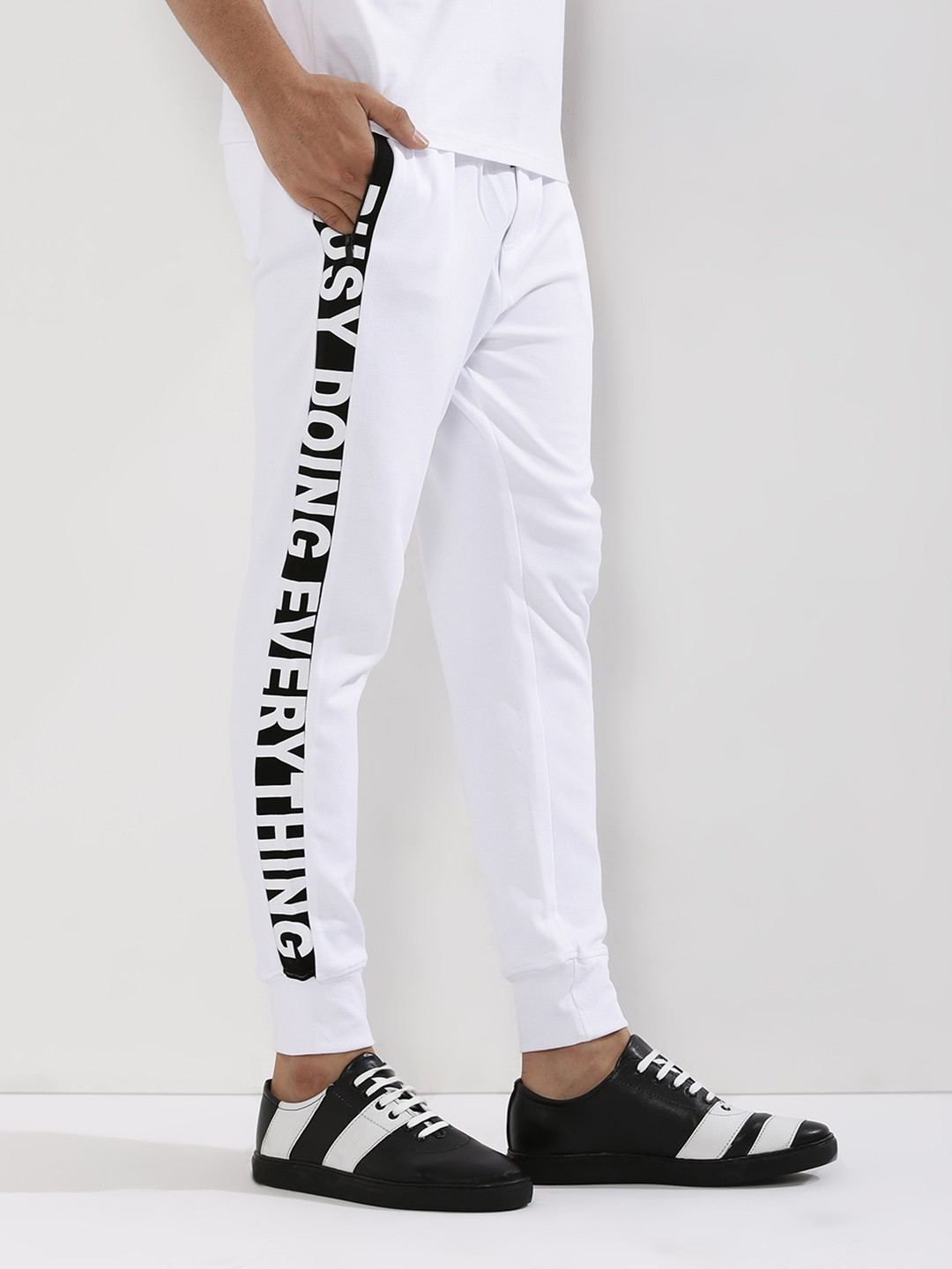 Adamo London White Side Panel Joggers 1