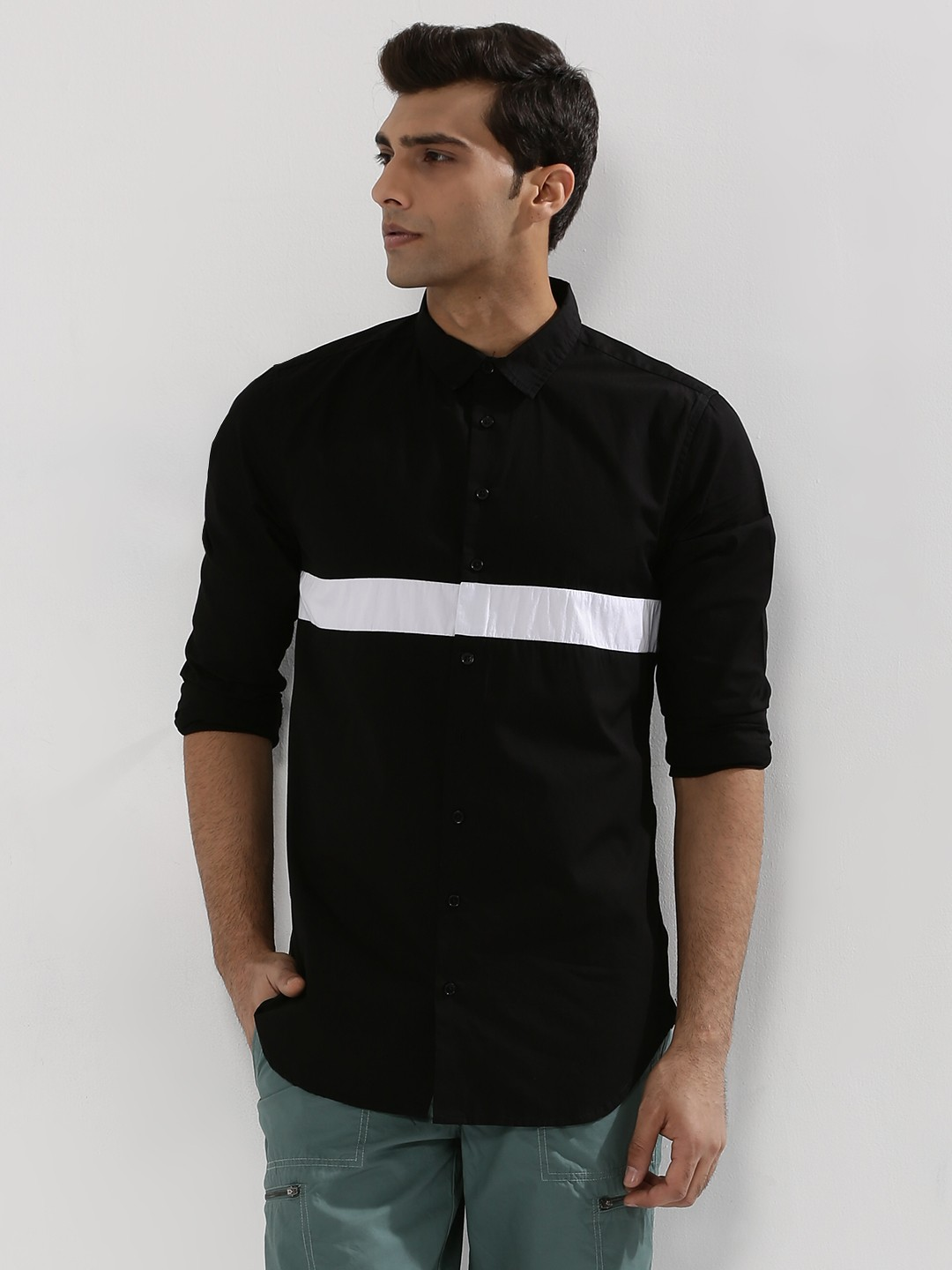 Adamo London Black Contrast Stripe Poplin Shirt 1