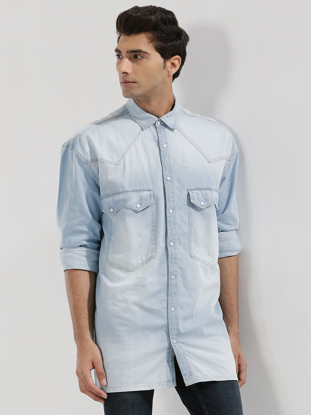 Adamo London Light blue wash Oversized Longline Denim Shirt 1