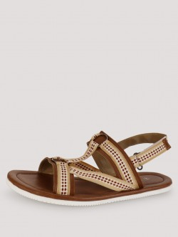 Tread Sandals With Checkered Detailing On Strap