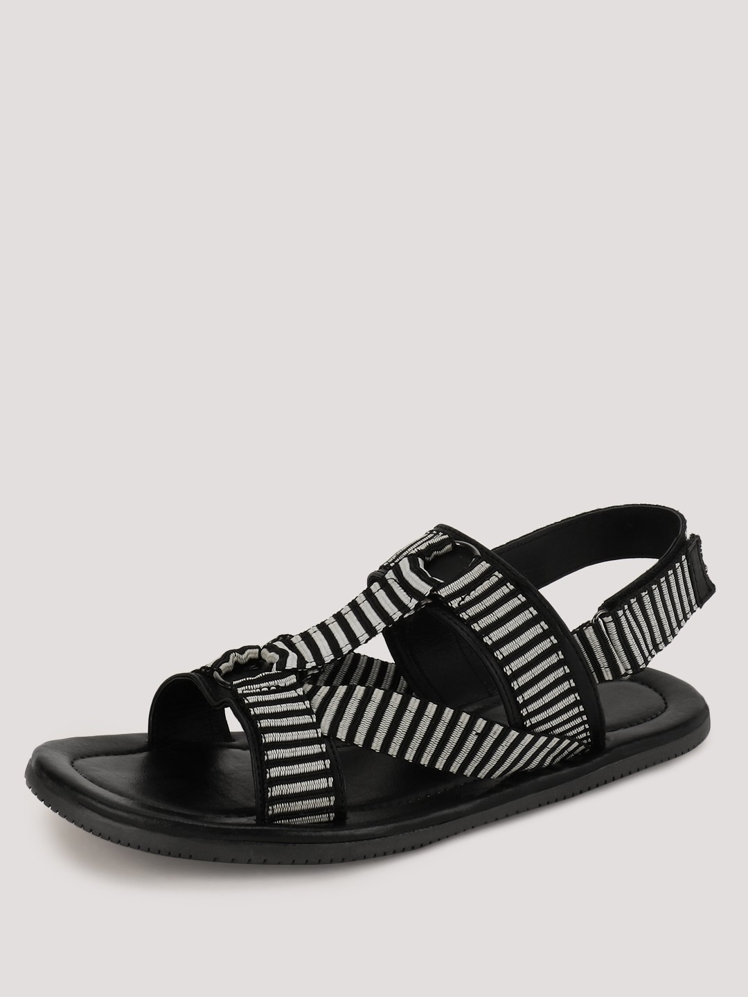 Tread Black Sandals With Stripped Detailing On Strap 1