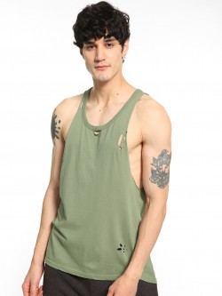 Brave Soul Distress Vest With Curved Hem