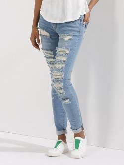 Only Light Wash Distressed Skinny Jeans