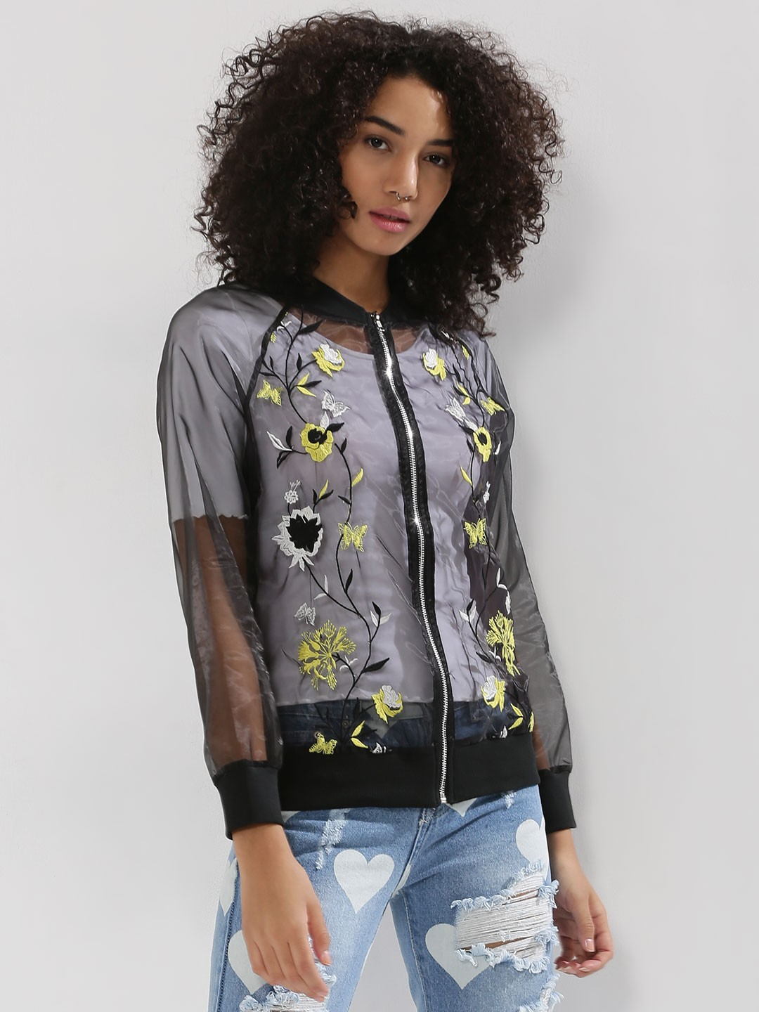 Buy Rena Love Floral Print Peplum Top For Women: Buy Rena Love Black Sheer Embroidered Bomber Jacket For