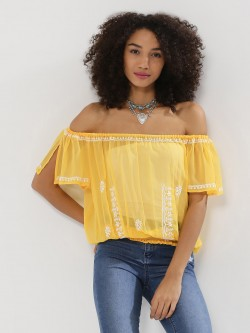 Noble Faith Embroidered Sheer Off Shoulder Top