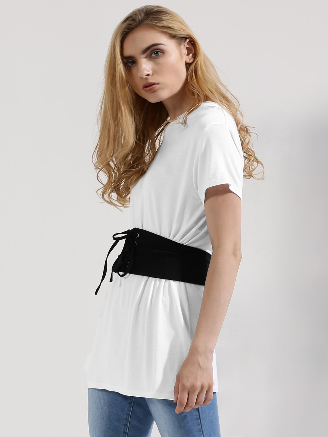 Femella White Jersey T-Shirt With Corset Belt 1