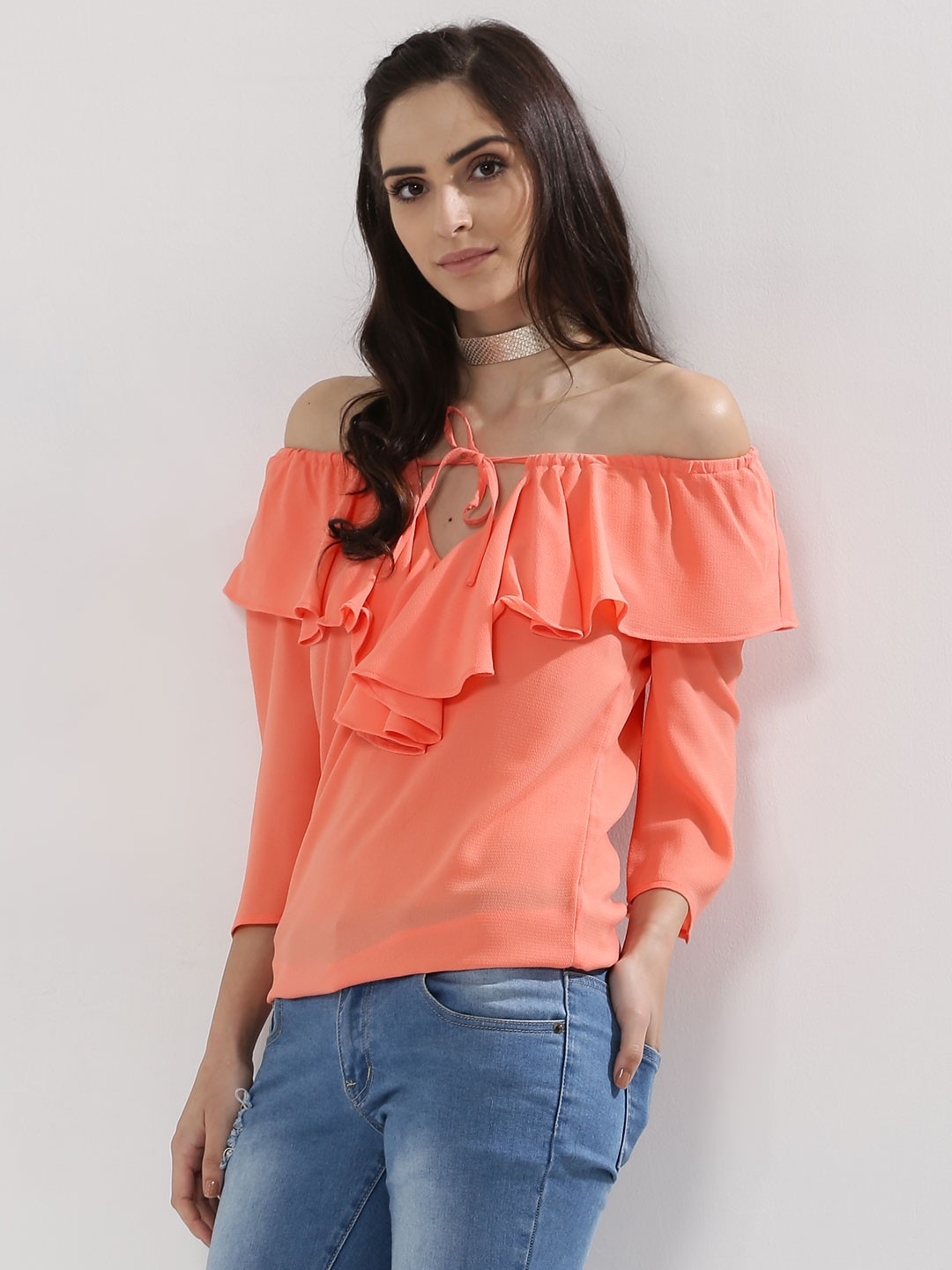 Femella Peach Frill Detail Off Shoulder Top 1