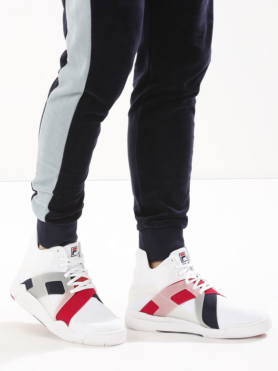 Buy Fila Black White/Navy/Red The Cage 17 Hi-Top Trainers ...