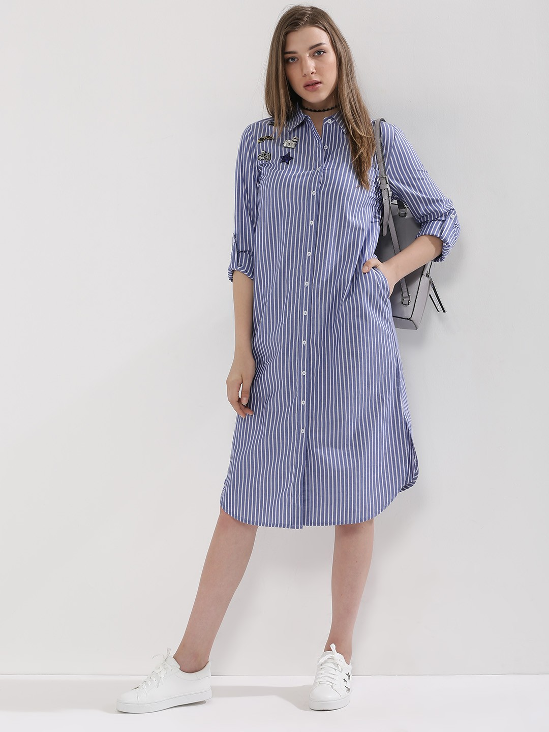 Buy multiple patch shirt dress for women women 39 s blue for Where to buy a dress shirt