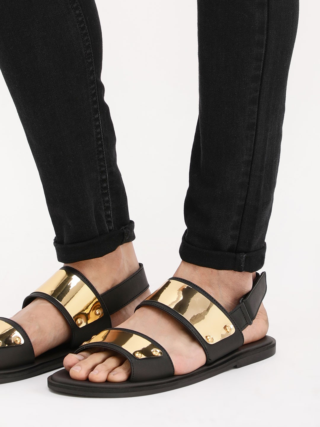 Griffin Black/gold Sandals With Metallic Detailing On Straps 1