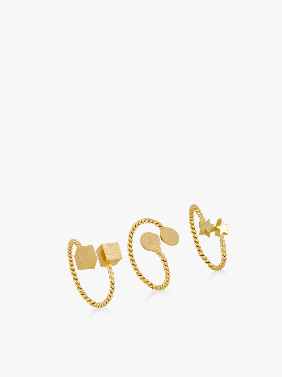 Style Fiesta Gold Rings ( Set Of 3) 1