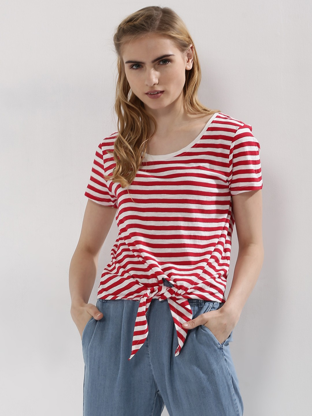 Only Red/White Stripe Front Knot Tie Top 1