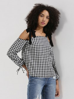 New Look Contrast Strap Gingham Top