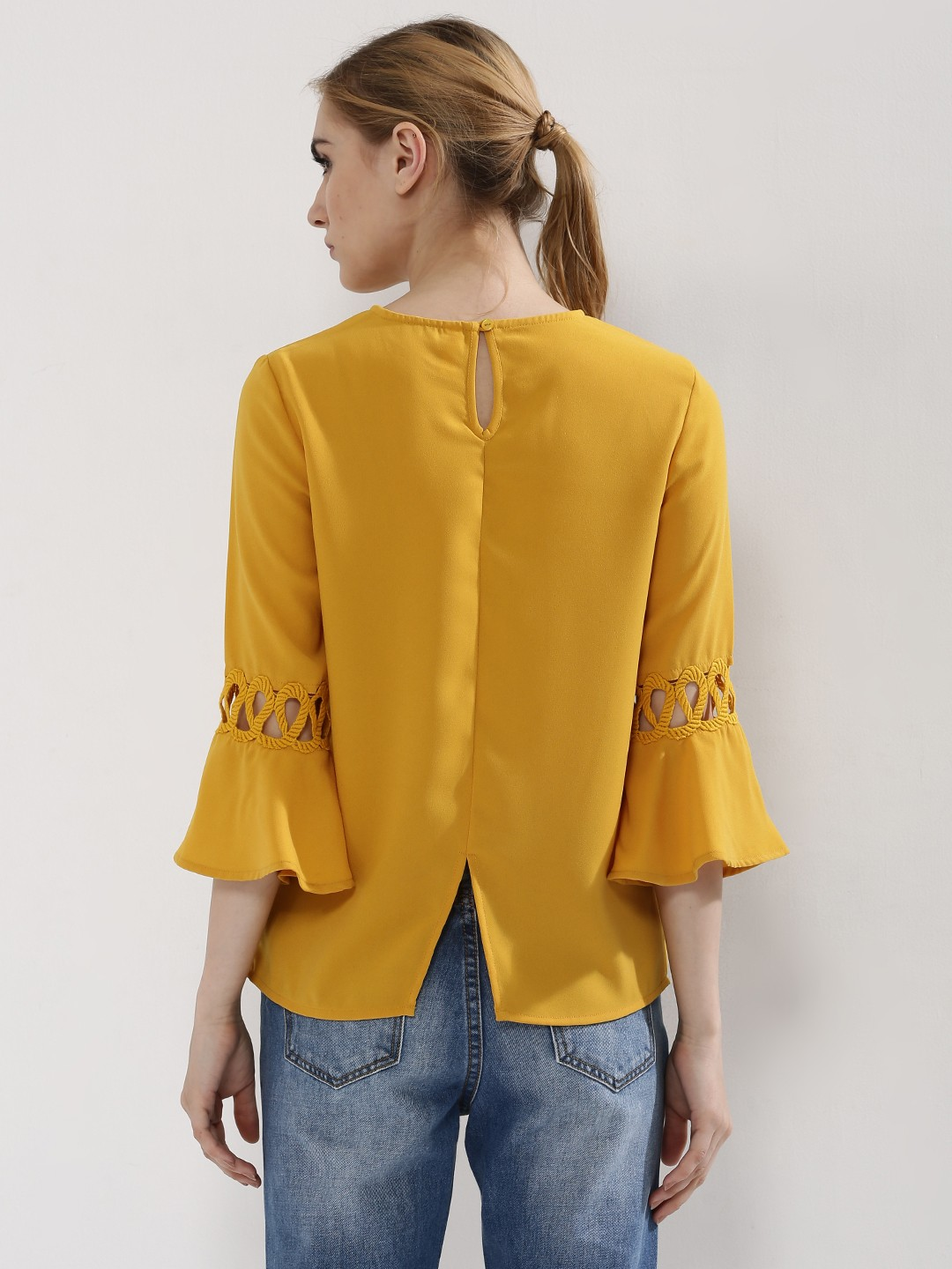 Buy Femella Front Ruffle Top For Women: Buy Femella Mustard Bell Sleeve Top With Lace Insert For