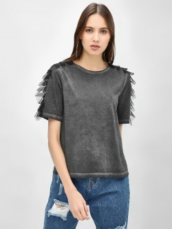Beyond Clouds Mesh Ruffle Washed Effect T-Shirt