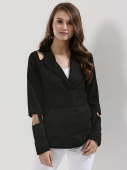 KOOVS Cut-out Detail Jacket In The Style Of Jessica Alba