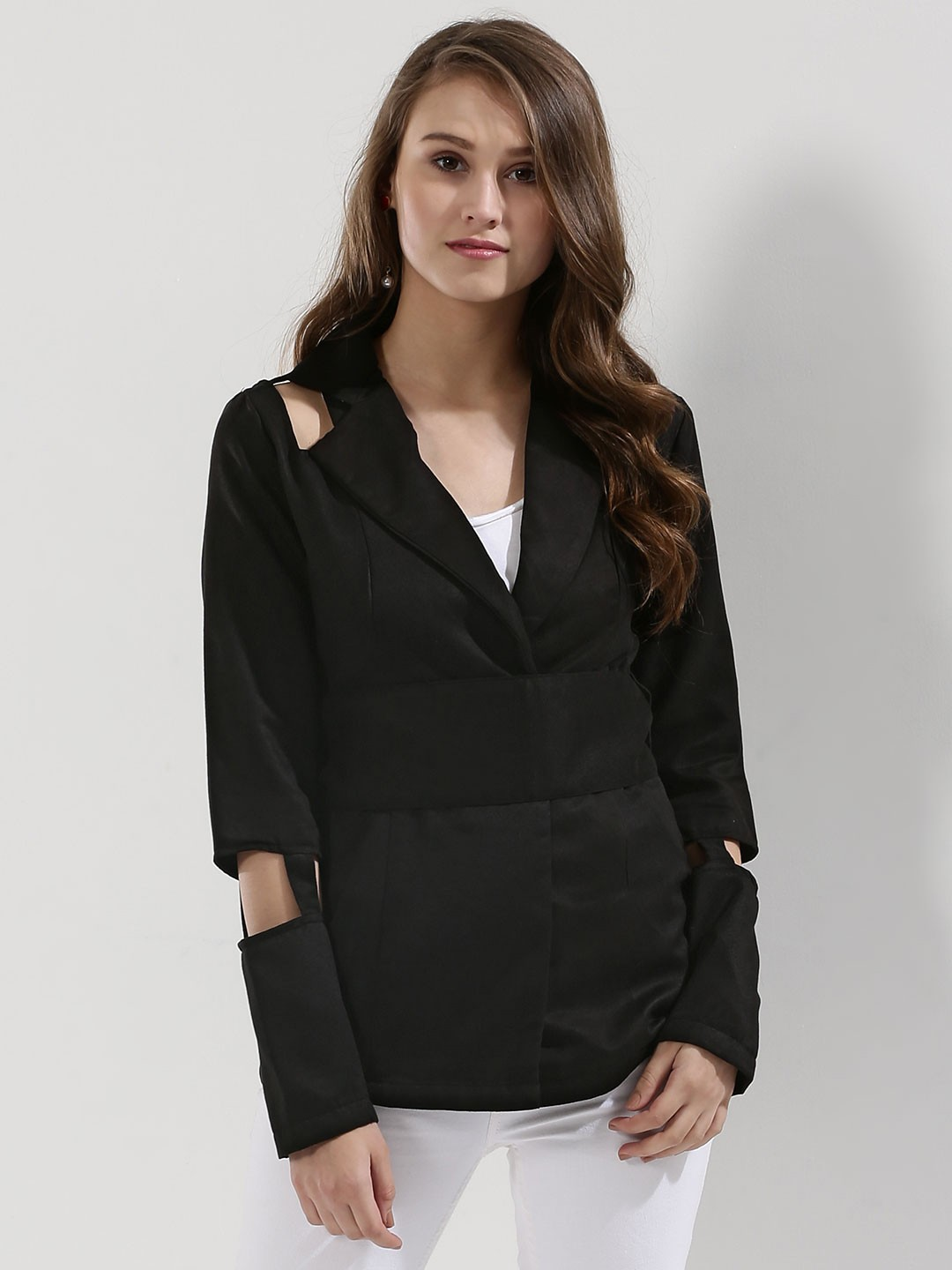 KOOVS Black Cut-out Detail Jacket In The Style Of Jessica Alba 1