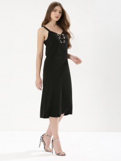 Glamorous Eyelet Tie Up Detail Dress
