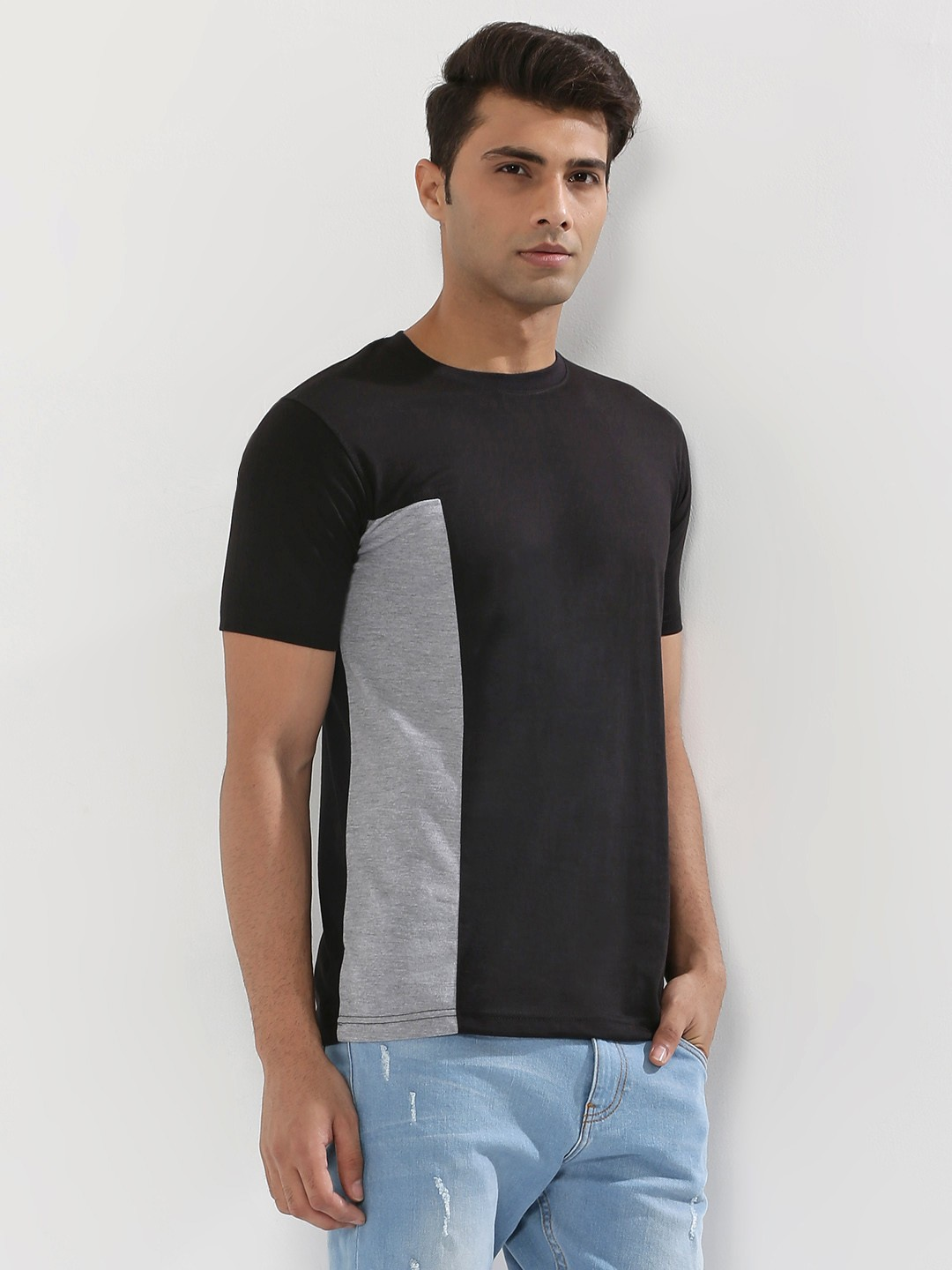 Blotch Black Contrast Panel T-Shirt 1
