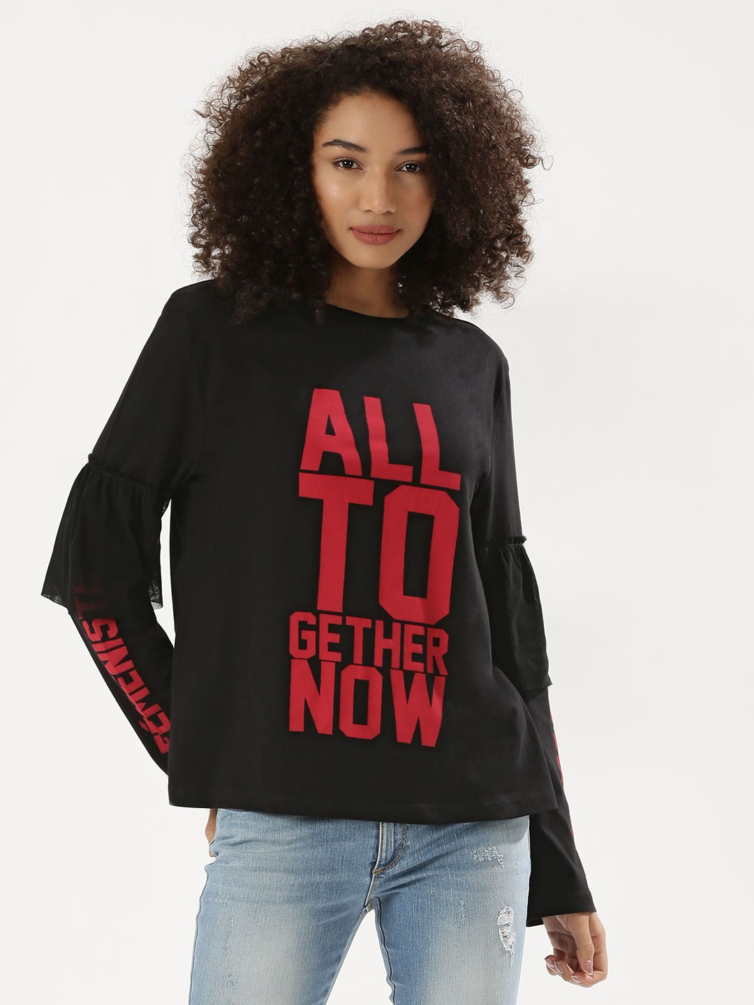 KOOVS Black Slogan Printed Sweatshirt 1