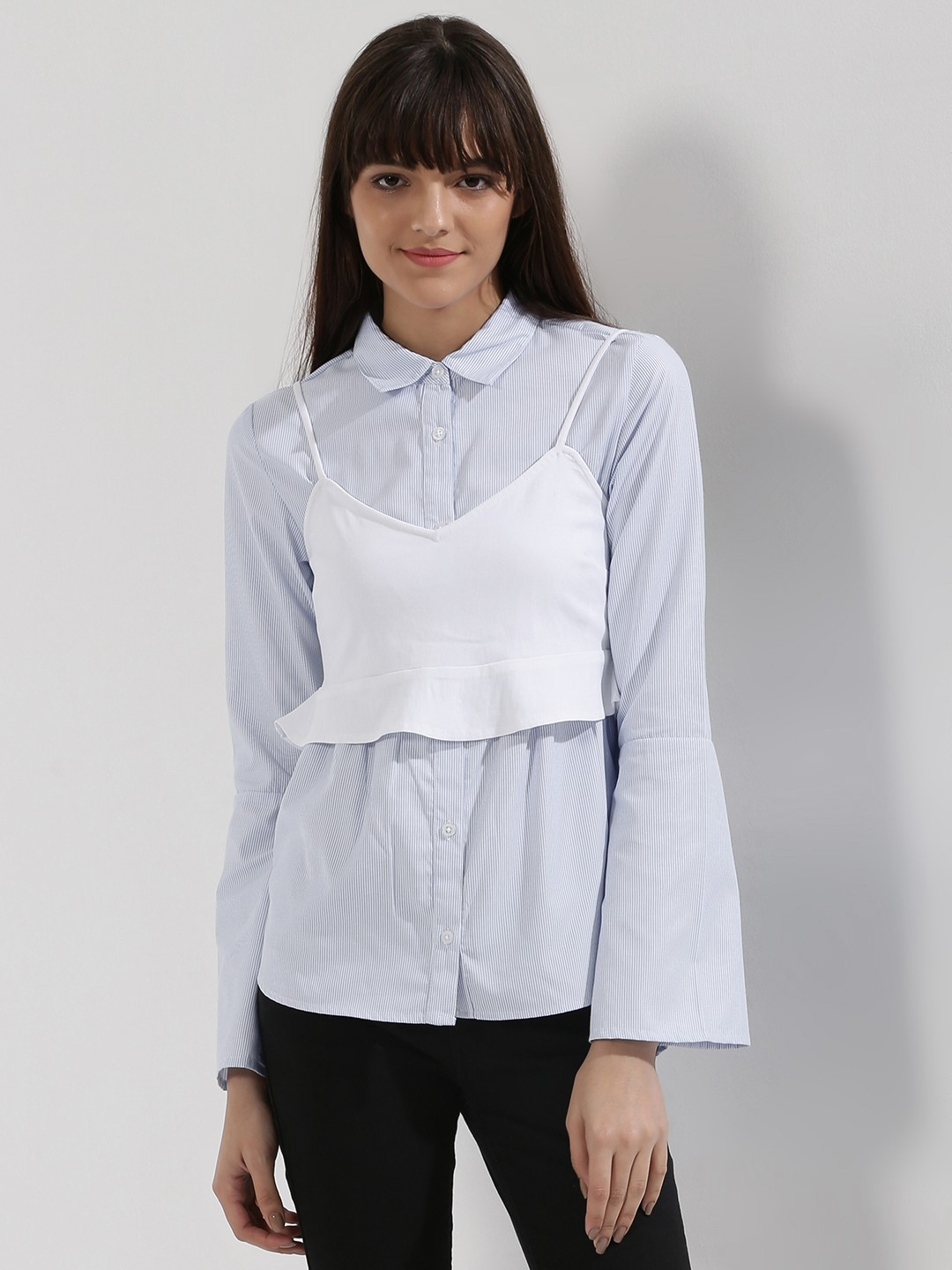KOOVS Blue Striped Shirt With Bralet 1