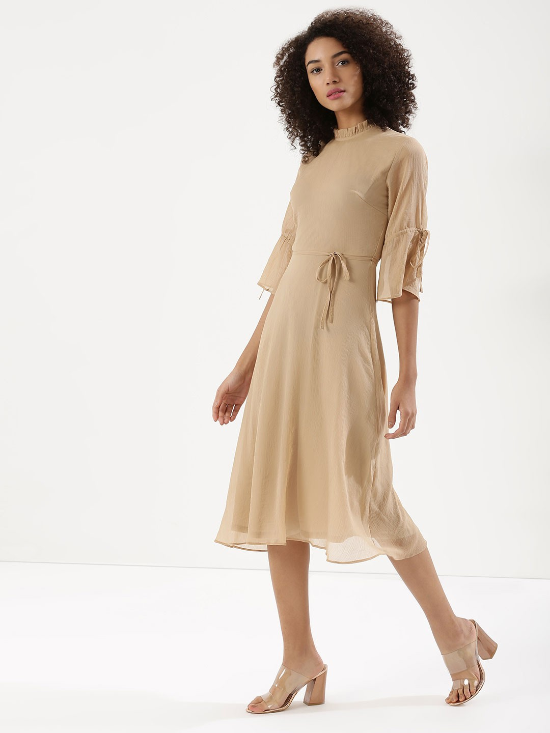 KOOVS Brown Tie Sleeve Midi Dress 1
