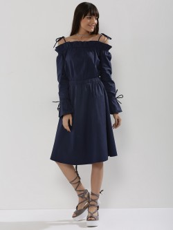 KOOVS Tie Detail Cold Shoulder Dress