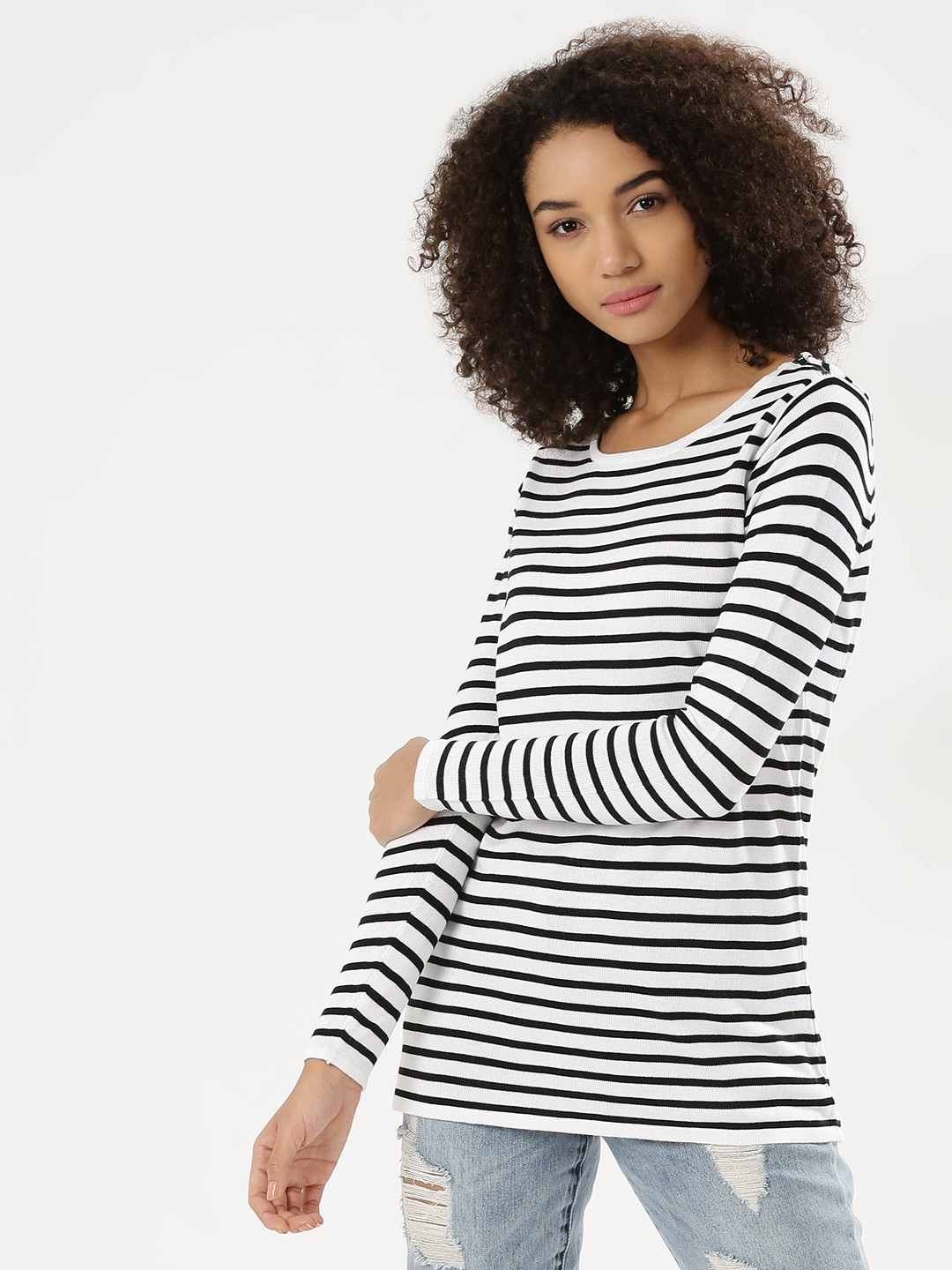 Akiva Black/White Striped Longline Pullover 1