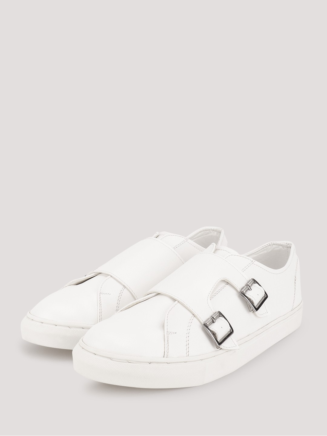 KOOVS White Monk Strap Low Top Sneakers 1