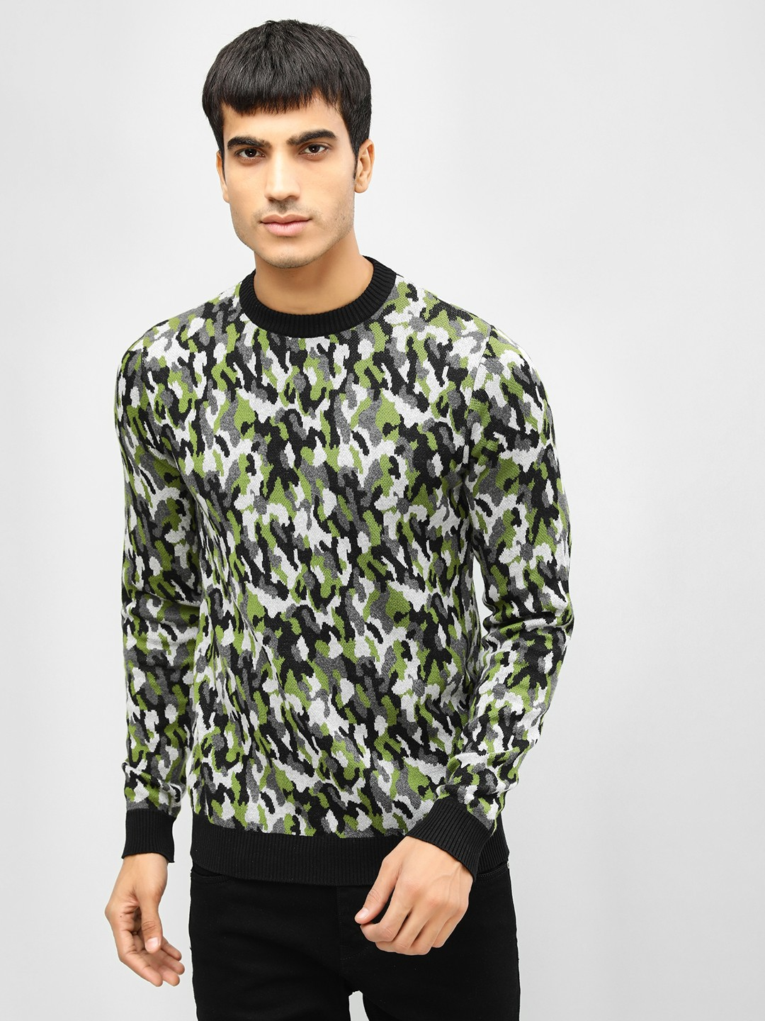 KOOVS Green Camo Crew Neck Sweater 1