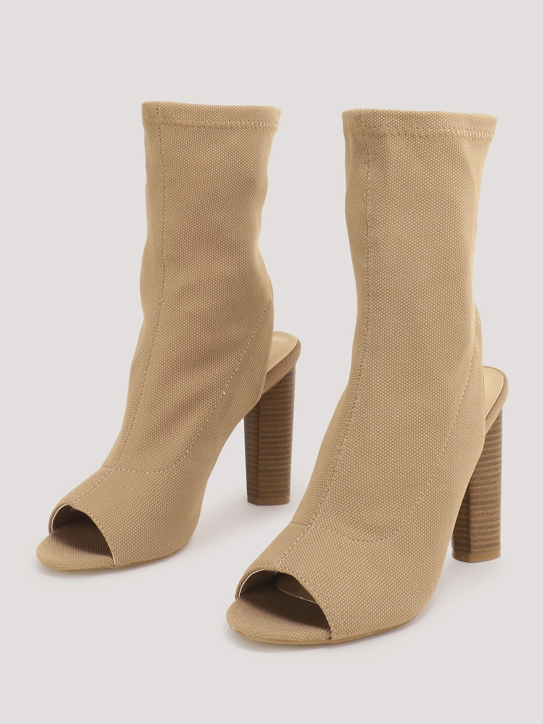 No Doubt Mocha Knit Sock Fit High Ankle Boots 1