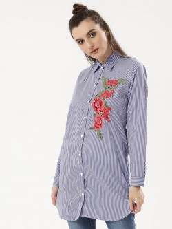 Forever And Ever Floral Embroidered Striped Longline Shirt
