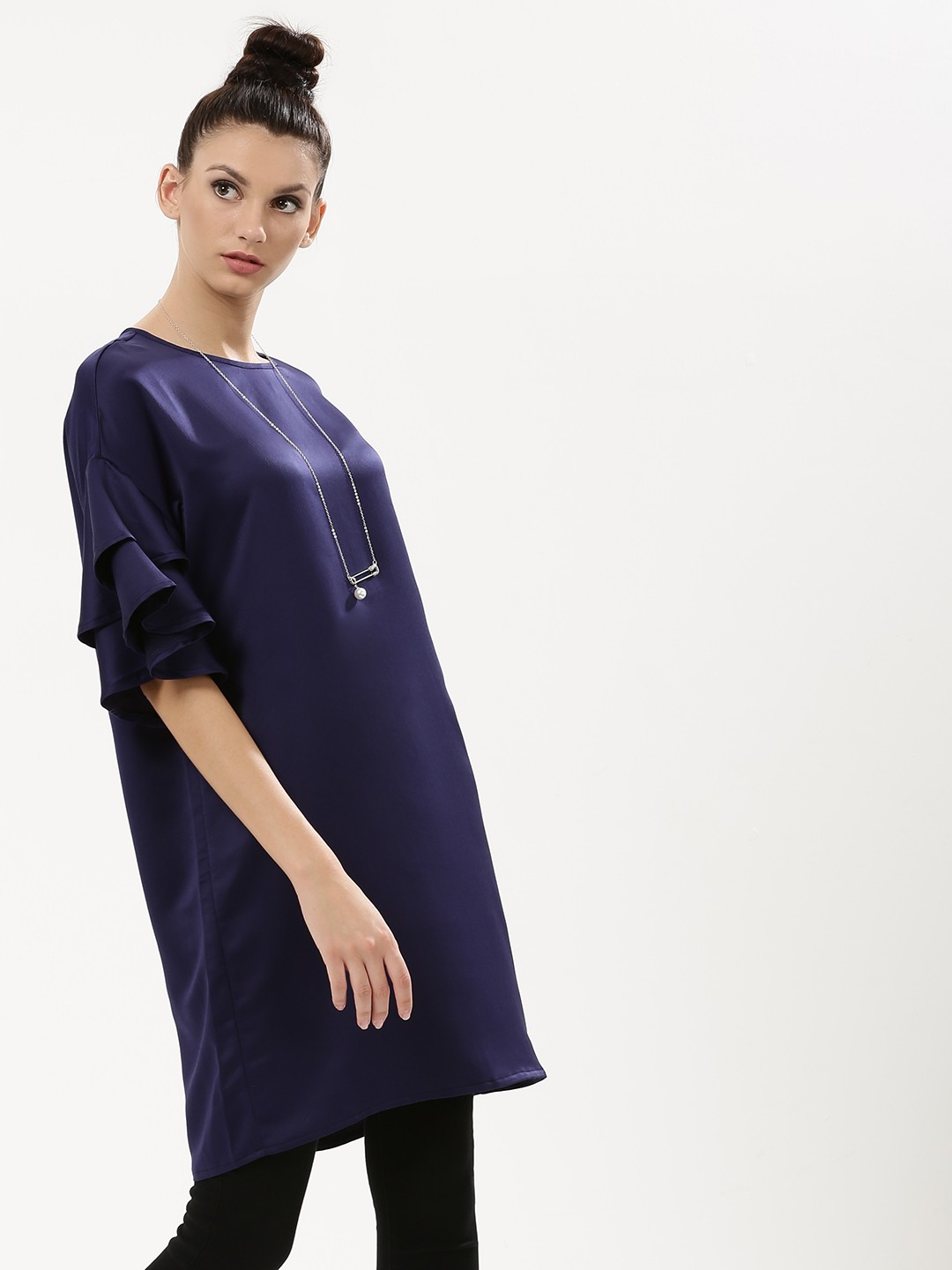 KOOVS Navy Solid Ruffle Dress 1