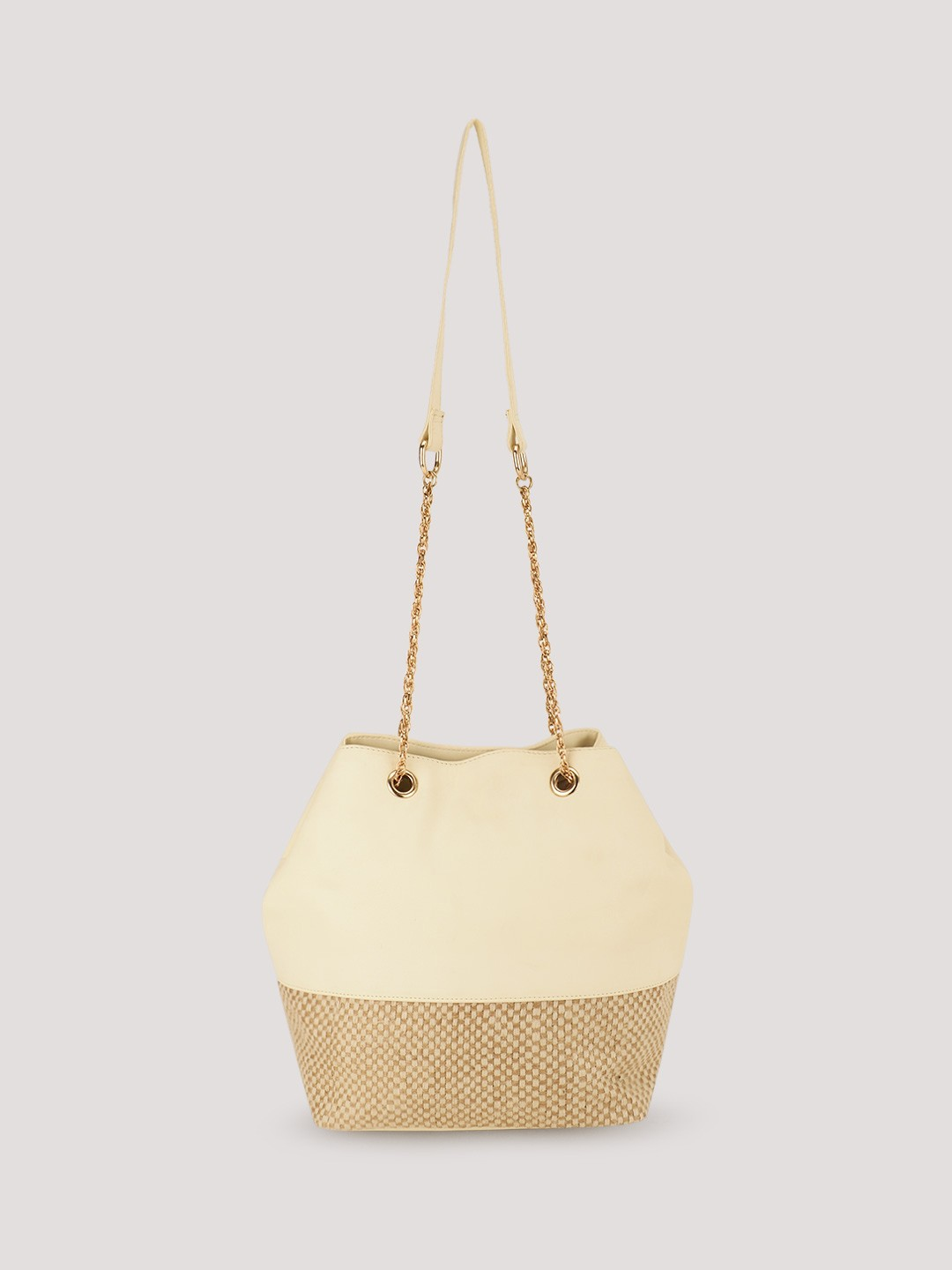 Paris Belle White Jute Panel Bucket Sling Bag 1