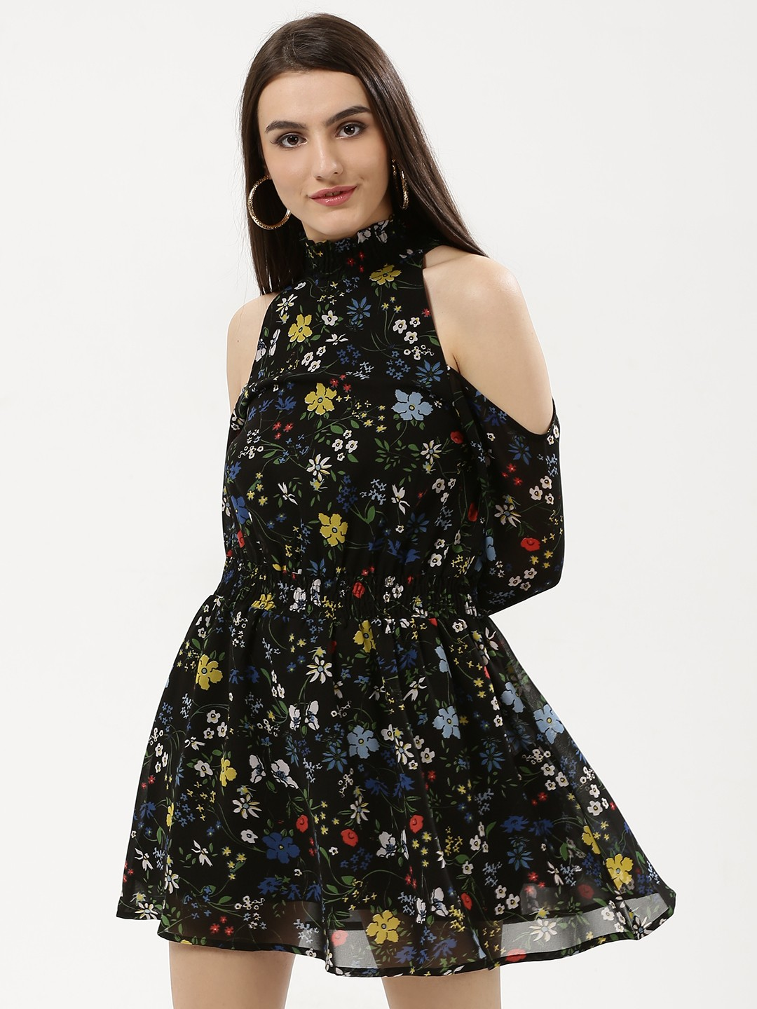 Influence Black Floral Cold Shoulder Dress 1