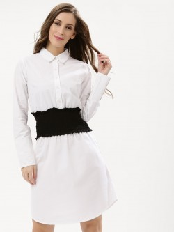 KOOVS Ruched Corset Waist Shirt Dress