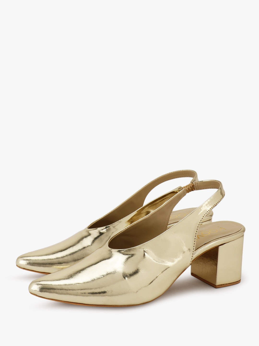 KOOVS Gold V-Cut Sling Back Pumps 1