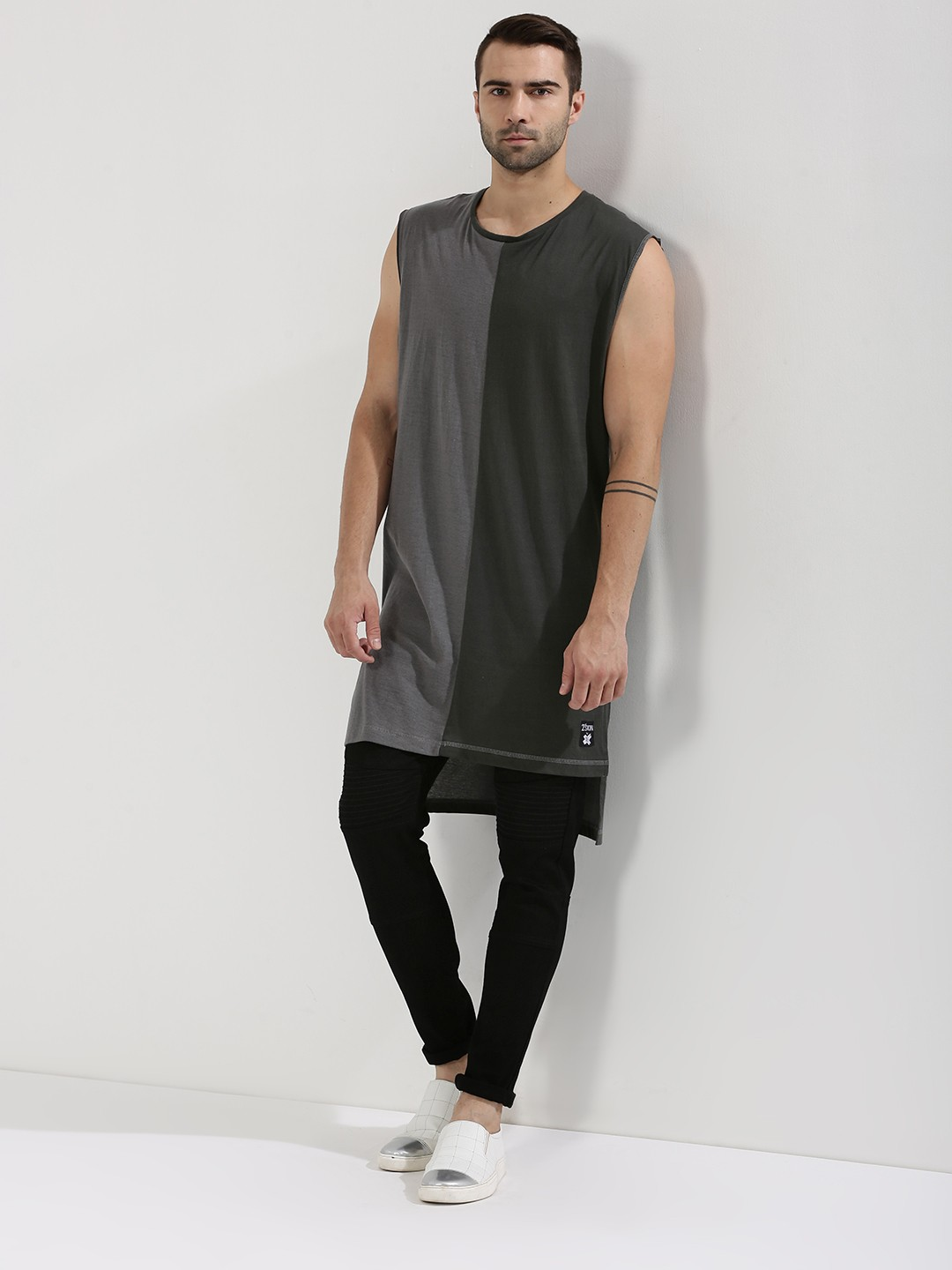 Kultprit Grey/Dark Grey Super Longline Cut & Sew Vest With Side Slit 1