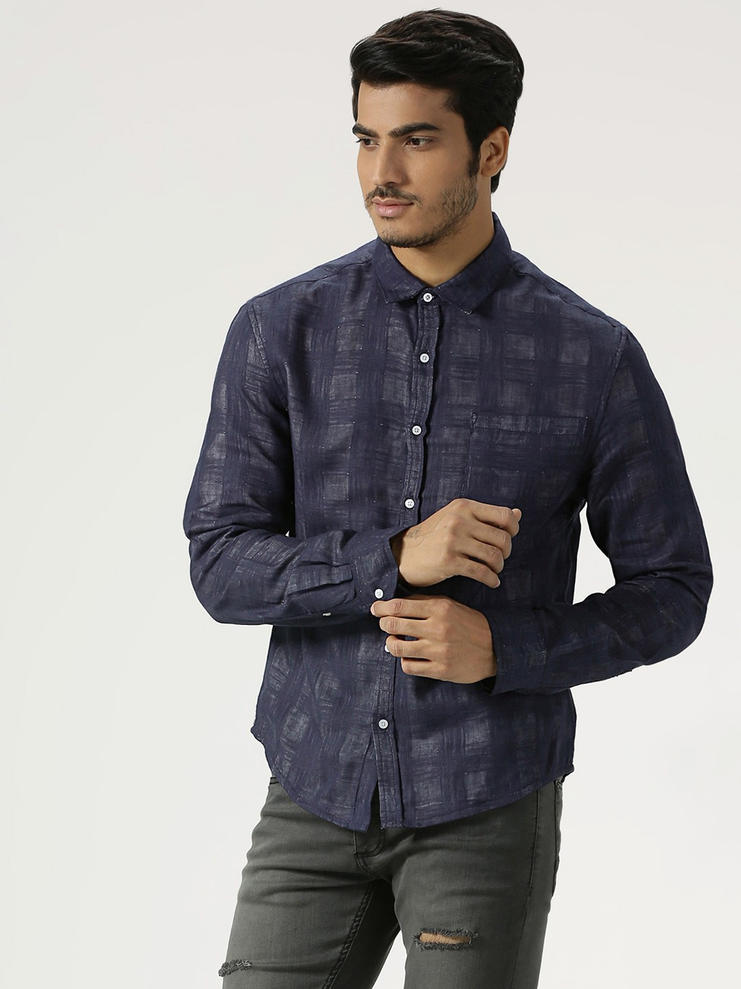 Harry sejal X Koovs Blue Gingham Check Shirt 1