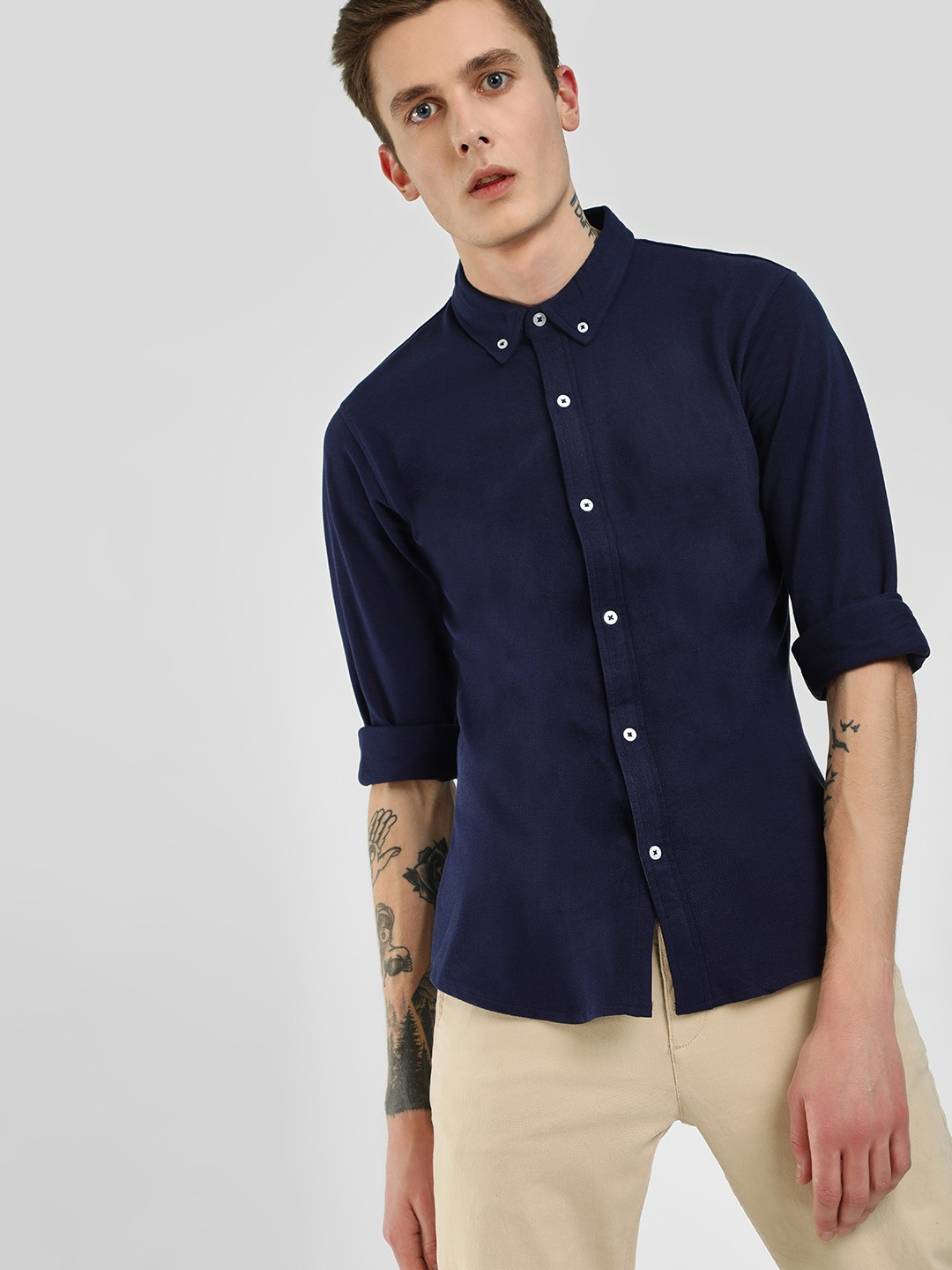 Garcon Navy Contrast Button Down Knitted Shirt 1